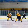 July5,2016 - Hazelwood - MO, Unites States of America. St Louis Blues Prospect s face off during St. Louis Blues 2016 Prospect Camp at Ice Zone