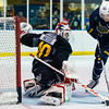 July5,2016 - Hazelwood - MO, Unites States of America. St Louis Blues Prospect  Ville Husso (40) make a big save during St. Louis Blues 2016 Prospect Camp at Ice Zone