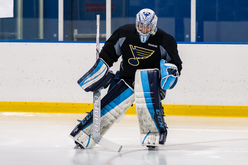 July5,2016 - Hazelwood - MO, Unites States of America. St Louis Blues Prospect Evan Fitzpatrick works on skating drills during St. Louis Blues 2016 Prospect Camp at Ice Zone
