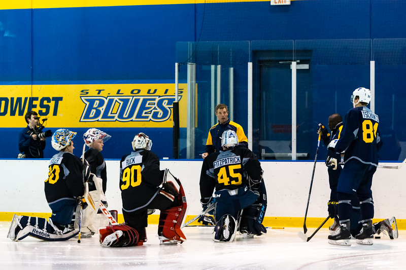July5,2016 - Hazelwood - MO, Unites States of America. St Louis Blues goalie prospects get the next drill from Coach Ty Conklin  during St. Louis Blues 2016 Prospect Camp at Ice Zone