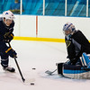 July5,2016 - Hazelwood - MO, Unites States of America. St Louis Blues Prospect  Connor Bleackley and Evan Fitzpatrick during St. Louis Blues 2016 Prospect Camp at Ice Zone