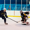 July5,2016 - Hazelwood - MO, Unites States of America. St Louis Blues Prospect Ryan Ruck (90) just cant get to the shot.D uring St. Louis Blues 2016 Prospect Camp at Ice Zone