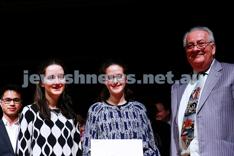 18-9-16. B'nai B'rith Youth Music Eisteddfod.  Sara and Rebekka Krishtul, Andrew Kolb.  Photo: Peter Haskin