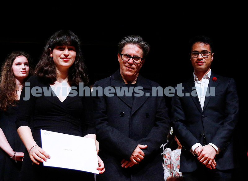 18-9-16. B'nai B'rith Youth Music Eisteddfod. Scholarship winner Lily Tamir-Regev with adjudicators JohnQuaine and Hoang Pham. Photo: Peter Haskin