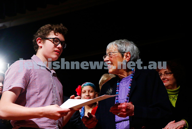 18-9-16. B'nai B'rith Youth Music Eisteddfod. Avraham Yee and Lady Anna Cowen. Photo: Peter Haskin