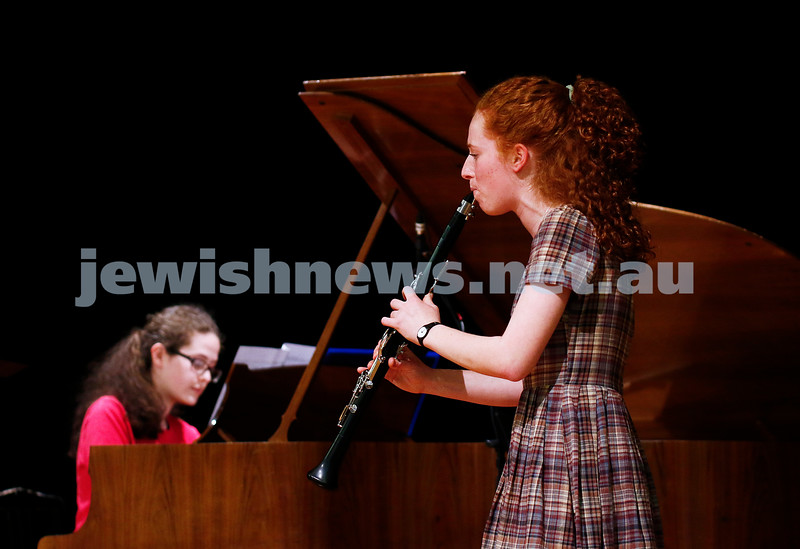 10-9-17. B'nai B'rith Jewish Youth Music Eisteddfod. Ruth Slonimsky (clarinet), Rebekka Krishtal (piano). Photo: Peter Haskin