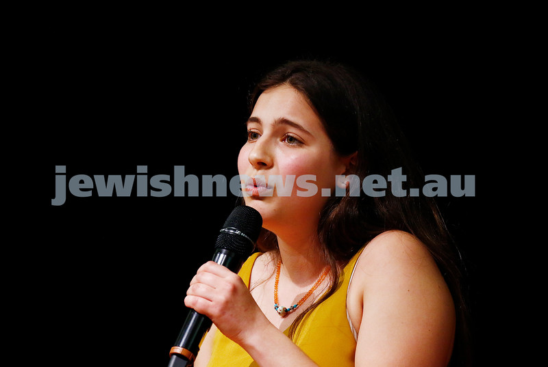 10-9-17. B'nai B'rith Jewish Youth Music Eisteddfod. Freya Boltman. Photo: Peter Haskin