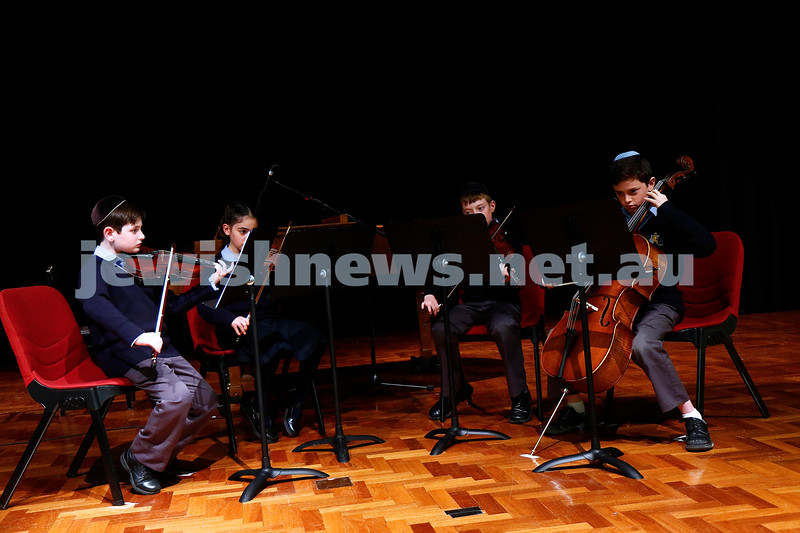 10-9-17. B'nai B'rith Jewish Youth Music Eisteddfod. Mount Scopus College year 4-5 string quartet. Photo: Peter Haskin