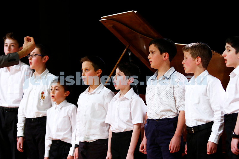 10-9-17. B'nai B'rith Jewish Youth Music Eisteddfod. Caulfield Hebrew Congregation Boys Choir. Photo: Peter Haskin