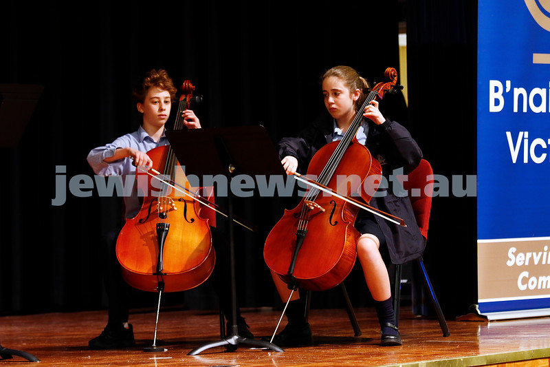 10-9-17. B'nai B'rith Jewish Youth Music Eisteddfod. King David Yr 7 - 10 string ensemble. Photo: Peter Haskin