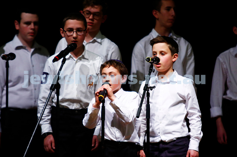 10-9-17. B'nai B'rith Jewish Youth Music Eisteddfod. Caulfield Hebrew Congregation Boys Choir. Photo: Peter Haskin