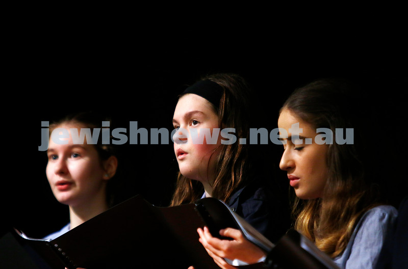 10-9-17. B'nai B'rith Jewish Youth Music Eisteddfod. King David Year 8 - 12 choir. Photo: Peter Haskin