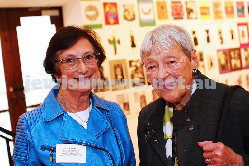 9-8-15. B'nai B'rith Shalom Menorah Unit 20th Annual Jewish Youth Art Competition. Leah Black (left), Lady Anna Cowen. Photo: Peter Haskin