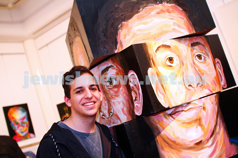 """9-8-15. B'nai B'rith Shalom Menorah Unit 20th Annual Jewish Youth Art Competition. Natan Kessler with his """"Portrait of Family"""" . Photo: Peter Haskin"""