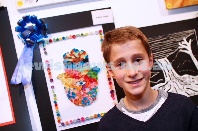 9-8-15. B'nai B'rith Shalom Menorah Unit 20th Annual Jewish Youth Art Competition. Jared Azoulay, Leibler Yavneh. Best work on Jewish theme. Photo: Peter Haskin