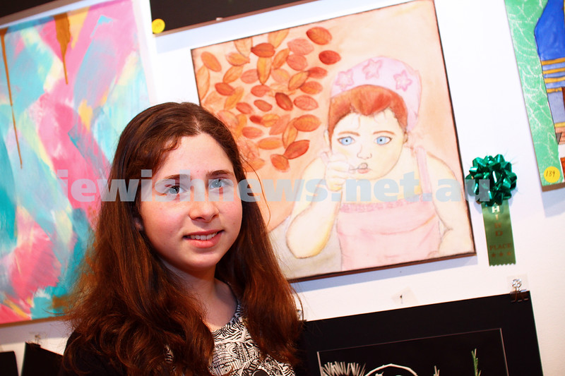 9-8-15. B'nai B'rith Shalom Menorah Unit 20th Annual Jewish Youth Art Competition. Shaked Gozlan, Leibler Yavneh. 3rd prize, mixed media, 11-13. Photo: Peter Haskin
