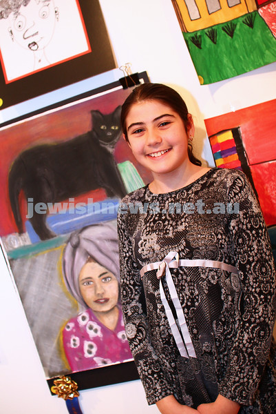 9-8-15. B'nai B'rith Shalom Menorah Unit 20th Annual Jewish Youth Art Competition. Alicia Lazarus, Leibler Yavneh. 1st prize, mixed media 11-13. Photo: Peter Haskin