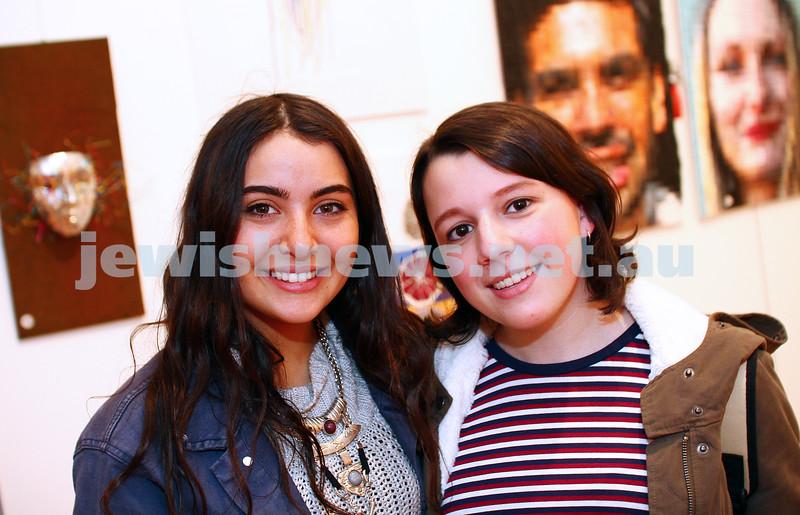 9-8-15. B'nai B'rith Shalom Menorah Unit 20th Annual Jewish Youth Art Competition. Courtney Pollack (left), Lauren Diveroli. Photo: Peter Haskin