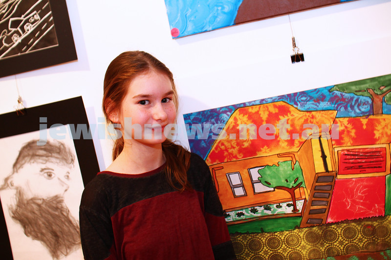 9-8-15. B'nai B'rith Shalom Menorah Unit 20th Annual Jewish Youth Art Competition. Bianca Solomon, The King David School. Photo: Peter Haskin