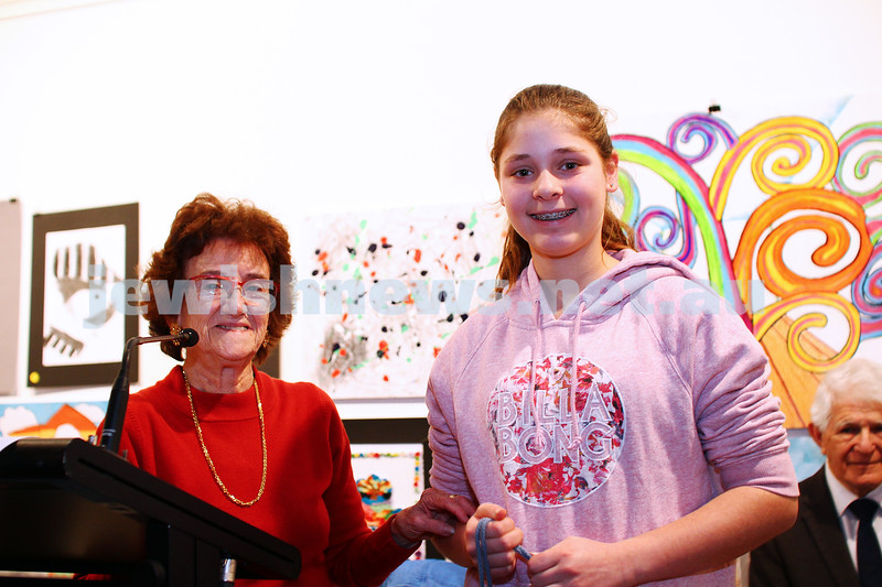 9-8-15. B'nai B'rith Shalom Menorah Unit 20th Annual Jewish Youth Art Competition. Emily Borenstein, 2nd prize, painting 11-13. The King David School. Photo: Peter Haskin