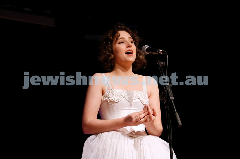 2-9-18. B'nai B'rith Jewish Youth Music Eistedfod finals concert. Glen Eira Town Hall. Zara Phillips-Mason. Photo: Daniel Goodrich.