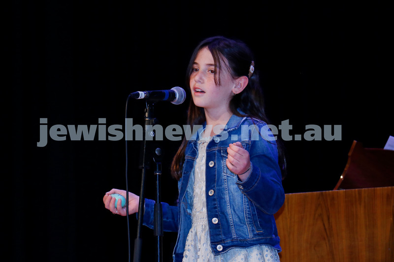 2-9-18. B'nai B'rith Jewish Youth Music Eistedfod finals concert. Glen Eira Town Hall. Anouchka Starr. Photo: Daniel Goodrich.