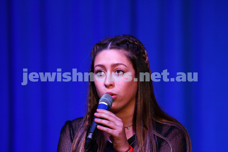 6-9-15. B'nai B'rith Jewish Youth Music Eisteddfod.  Jemma Cher. Finals Concert 2015. Photo: Peter Haskin