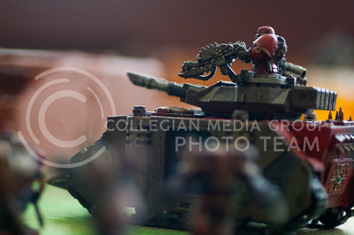 Painted miniatures for the game Warhammer 40,000 were put on display during board game day hosted by the Games CLUB in Hale Library in Mahattan, Kan. Nov. 4, 2017. (Justin Wright | Collegian Media Group)