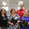 STEM & School Libraries Coordinator Kiera Elledge with librarians from the city libraries of Hurst, Euless, and Bedford, in recognition the HEB Reads! Think Tank winning the Texas Library Association Wayne Williams Library Project of the Year Award.