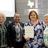 Board member Dawn Jordan-Wells with STEM & School Libraries Coordinator Kiera Elledge and representatives from the HEB Retired School Employees, in recognition of a donation from the HEB Retired School Employees.