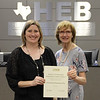 Board member Faye Beaulieu with North Euless Assistant Principal Marie Becker, in recognition of a donation from North Euless Elementary PTA.
