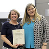 Board president Julie Cole and Assistant Superintendent of Elementary Instruction Mary Stokic, in recognition of a donation from South Euless Elementary PTA.