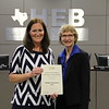 Wilshire Elementary Principal Jodie Ramos with board member Faye Beaulieu in recognition of a donation from the Wilshire Elementary PTA.