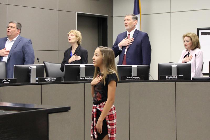 Olivia L. from Spring Garden Elementary leading the Pledge of Allegiance.
