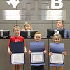 Brooklyn, Lawson, and Gracen recognized for leading the Pledge of Allegiance.