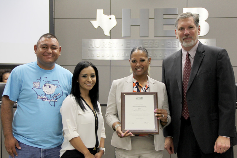 """The leadership team from Bellaire Elementary with the Superintendent, in recognition of Bellaire's """"Top Gold Ribbon School"""" honor."""