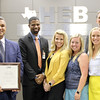 """Harwood Junior High leadership team with Superintendent,  in honor of Harwood's """"Texas Honor Roll"""" designation."""