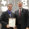 Teacher Christopher Adams with Superintendent, in recognition of Adams being named ATPE Teacher of the Year.