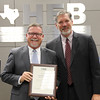 "L.D. Bell High School principal with Superintendent, in honor of ""Texas Honor Roll"" designation."