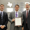 """Bedford Junior High leadership team with Superintendent, in honor of """"Texas Honor Roll"""" designation."""