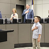 Antonio O. from Euless Junior High leading the Pledge of Allegiance.