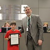 Superintendent Steve Chapman with 2019 District Geography Challenge 2nd place finisher Jonathan I. from Bedford Heights Elementary.