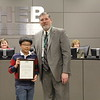 Superintendent Steve Chapman with 2019 District Geography Challenge 3rd place finisher Caleb C. from Viridian Elementary.