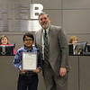 Superintendent Steve Chapman with 2019 District Geography Challenge 1st place finisher Aabhwan A. from West Hurst Elementary.