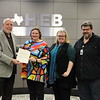 Board Member Andy Cargile and Jerrilyn Woodard-Entrkin with teacher Tom Hook and Buinger CTE Academy assistant principal Debra Harvey, in recognition of a donation from Jerrilyn to BCTEA.