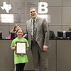 Superintendent Steve Chapman with 2019 District Spelling Bee runner-up Gwendolyn L. from Lakewood Elementary.