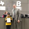 Superintendent Steve Chapman with 2019 District Spelling Bee winner Jonathan N. from River Trails Elementary.