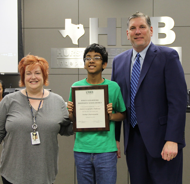 Social Studies Facilitator Kathleen Gilbert, with Spring Garden Elementary student Tushar C.. and Superintendent Steve Chapman, in recognition of Tushar's 3rd place finish in the District Geography Challenge.
