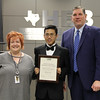 Social Studies Facilitator Kathleen Gilbert, with Central Jr. High student Maverick G. and Superintendent Steve Chapman, in recognition of Maverick's 1st place finish in the District Geography Challenge.
