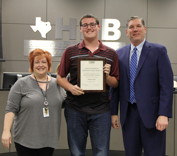 Social Studies Facilitator Kathleen Gilbert, with Bedford Jr. High student Thomas H.. and Superintendent Steve Chapman, in recognition of Thomas' 2nd place finish in the District Geography Challenge.